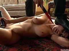 This girl gets her nipples pinched and pussy fucked hard. Then she gets tied up and fucked rough again and again.