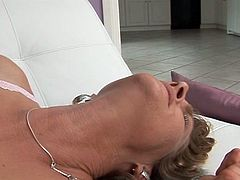 This milf gets incredibly wet when this black dude shoves his big dick inside her pussy. Her white juices flow out.