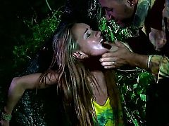Young cutie Leyla Black got caught by some fuck hungry soldier in the woods and he forced her to open her mouth wide and stuffed his nasty huge cock deep inside it!