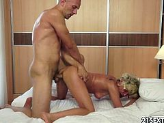 Tomi Hard is a great granny fucker,He dragged many grannies into his bed,He doesn't plan to stop this fun activity anytime soon.His current partner is Jessye, a surprisingly fit looking granny, Watch how this old slut is fucked harshly by hard strong cock.Enjoy!