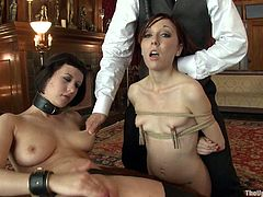 This sluts are forced to blow a their master's cock while being tied up and getting a vibe crushed against their pussies just to get roughly rammed by their master.