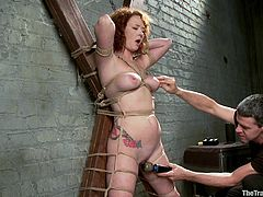 Get a load of this redhead's amazing body in this bondage scene where her master tied her up and toys around with her.