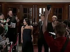 Asa Akira visits the big party of her friends. She is beautiful, black evening dress. After some time she goes to some room and undresses, revealing her appetizing body.