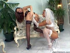 Attractive young tanned blonde bride Sandy with delicious firm buns and pretty face in white gets her hairless cunny licked to wet orgasm by lusty brunette Sandra Shine in black lingerie