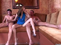Skinny pornstar Jenna Haze with perfect long legs has a great time playing with two rock hard cocks in front of big breasted blonde Nikki Jayne. Stacked woman dildos her snatch and enjoys the show.