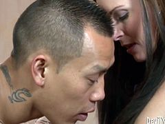 Aroused Asian dude enjoys eating wet pussy of white slut