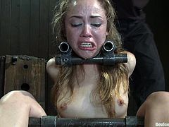 Kinky bitch gets bonded and then she has to suck a cock. Later on she gets her vagina toyed just as she wanted.