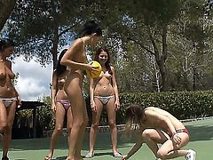Three teen girls Adria, Beata and Ivana, called their other three girlfriends to play some volleyball and doing it nude and showing hot boobies.