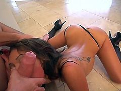 Busty horny asian slut Lee rammed without mercy in her tasty round butt by a giant shafted Manuel