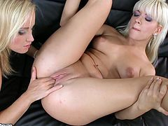 Gorgeous blondes Bibi Noel and Kathia Nobili are making lesbian love. They caress each other and then lick, finger and toy each other's hot pussies.