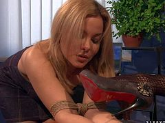 Mandy Brights slave girl Salome is tied to chair at the office. Helpless blonde girl gets humiliated by strict woman. Unmerciful brunette makes blonde lick dust off her shoes.