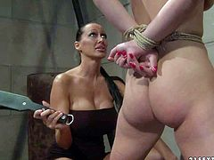 Nude slave girl Zyna Baby in rope bondage demonstrates her hairless pussy and juicy ass before she gets her bare butt spanked silly by mistress Mandy Bright. Watch naked lady get punished by clothed domina.