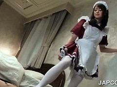 Sweet asian horny maid giving her boss a great footjob