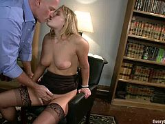 Blonde office girl gets her ass toyed , gaped and fucked