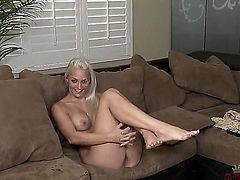 Beautiful blonde babe Macy Cartel gets naked during this hot interview and demonstrates her gentle and sweet body. Young hottie looks amazing being completely naked!