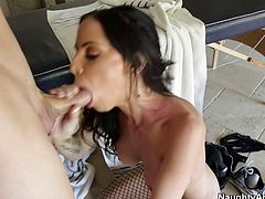 Rubbish hoe Brandy Aniston in fishnet stockings is hammered hard doggy style. The guy probing her cunt deep so the girl groans wild with joy.