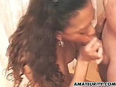 A black amateur teen girlfriend homemade hardcore action with blowjob and fuck. Huge facial cumshot in slow motion !