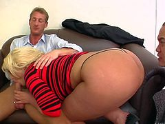 Curvy blonde Julie Cash in red shirt dress and thong panties gets her big sweet ass licked and gives blowjob at the same time in threesome cuckold action. Watch big bottom blonde have fun.