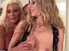 Turned on long haired stunning milfs Anita Dark, Sandy and Puma Swede with big firm hooters and smoking hot bodies in lingerie get nasty and have mind blowing threesome in the kitchen