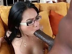 Get a load of this amazing interracial scene where a smoking hot Asian babe has her tight pussy penetrated by a thick black cock until getting a messy facial.