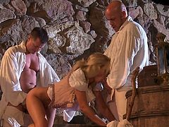 Horny babes are having naughty time fucking and sucking during group action role playing