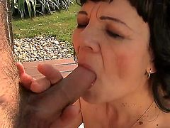 Slutty sexy horny MILF bitch Helena May enjoys giving blowjobs and getting her hairy pussy licked