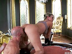 Hot blonde milf Abbey loves getting stuffed with a big hard cock. She's bent over by Johnny and her pussy is drilled after some mean licks. She loves it and the only think this blonde beauty can think of is cum inside her cunt or mouth. Where will she receive a load of jizz?