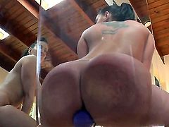 Two cute mature slutty bitches enjoy a lone session of anal rimming using toys in their ass