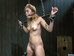 Hot chick gets chained and fucked with the fucking machine. After that some guy puts clothespins on her tits and toys her ass.