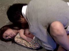 Horny Asami Ogawa pees on the floor and then sucks a cock on the eyes of other people. Then she also sits on guy's face.