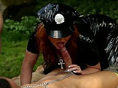 Huge BBW and her friend in a latex police uniform are ready for this threesome action with an young dude! He nails them with his stiff cock!
