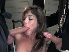 Brown-haired milf Felony is having fun with Steve Holmes and his buddy. The guys bound the woman and poke their cocks into her mouth, pussy and asshole.