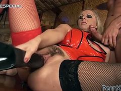 Daria Glower is one of the randiest sluts out there and today she plays with a bunch of big dildos before riding and sucking a hard cock.