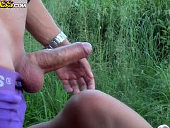 russian girl likes nature and cock