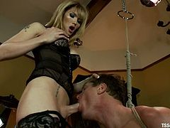 Sexy blonde tranny Eva Lin is having fun with Parker London in a bedroom. She rubs the man's cock and then drills his ass deep and hard.