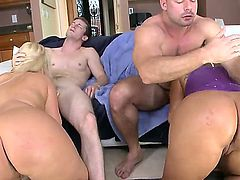 Turned on long haired blonde and black haired sexy Julie Cash and Kiara Marie with gigantic jaw dropping asses get licked good by handsome studs and takes on their cocks.