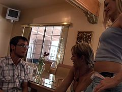 Looks like it's Dane's lucky day! He got inside the house with three sexy cougars and didn't had a thought about what will happen. He staid there on the chair when the cougars attacked him and as the bitches took out his dick Dane started to get it. Want to find out what these superb cougars did with him?