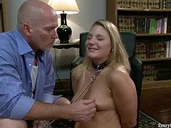 Chubby blonde Aurora Snow lets Mark Davis watch her toying her ass. Then Mark fucks the blonde's butt with a dildo and rips it apart with his massive schlong.