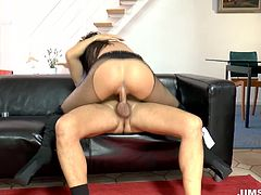cocky geezer gets lucky to fuck beautiful black haired sexploitress named Erica. Skanky lady rides that old dick on top and gets railed doggystyle.