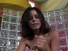 Penny Flame gets jizz on face after tugjob