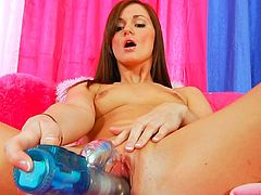 she gets really hrny while finger fucking her shaved cunt and masturbating it with toys