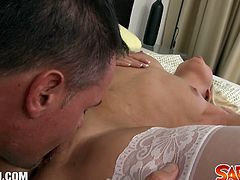See the vicious blonde maid Bara brass giving her boss a hell of a blowjob before he pounds her shaved slit into kingdom come. She looks very hot in those white stockings!