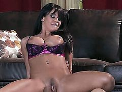 Pretty young brunette Savannah Stern with smoothly taned sexy body sucking and fucking with Tommy Gunns tight cock on the floor!