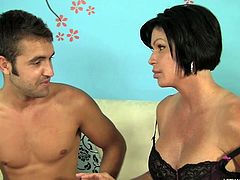 Watch a mom that after she swallowed cock she wanted to have a taste of ass. The brunette milf still has a great body and gives men a rock solid erection. She sucked this guy and after having enough with his cock in her mouth she kissed his anus with pleasure.