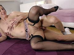 Moaning pale British filth Lara Latex gets her twat fucked doggy tough