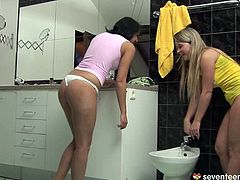 Curvy blond teen sits on a bidet while another spoiled teen tongue fucks her unused shaved cunt. Later they switch and she is the one who welcome a finger fuck.