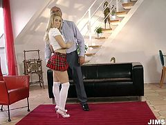 Nesty sucks geezers dick and then teases him by playing with her pussy