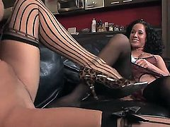 So beautiful girls Mischa Lynn and Tara Holiday are spending great time together in this action! Beauties stay in stockings and high heels before licking and dildoing.