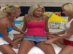 Young slender blonde teens Nikki, Angel and Evan with natural boobs and smoking hot slim bodies in short skirts get horny and start making out with each other in bedroom