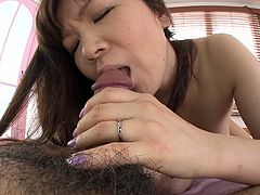 She is kinky Japanese MILF performer who is good in sucking dick action. Watch her sucking hard stick deepthroat and then gets poked actively in a missionary position.